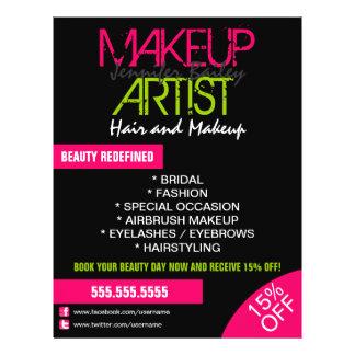 Artista de maquillaje promocional folleto 21,6 x 28 cm
