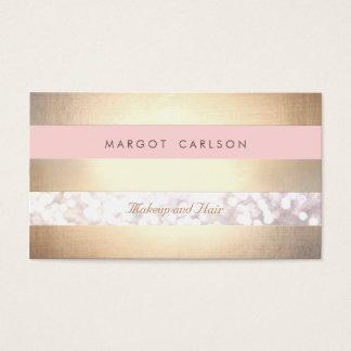 Artista de maquillaje rosa claro rayado del oro de tarjeta de negocios