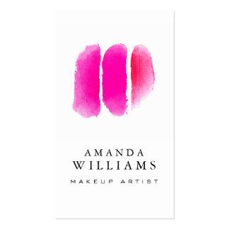 Artista de maquillaje rosado de las muestras del tarjetas de visita