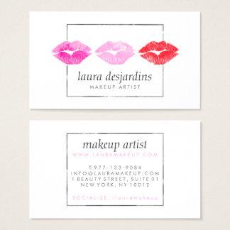Artista de maquillaje rosado intrépido de la tarjeta de visita