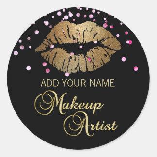 Artista de maquillaje rosado negro elegante de los pegatina redonda