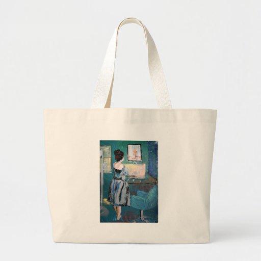 Artista en su escritorio bolsa lienzo
