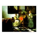 Artista holandés Vermeer que pinta el concierto Tarjeta Postal