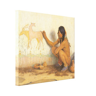 Artista indio por Couse, nativo americano del Lienzo Envuelto Para Galerias