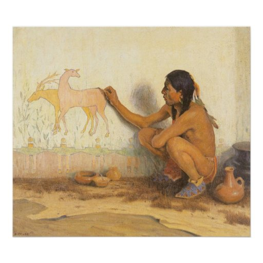 Artista indio por Couse, nativo americano del Posters