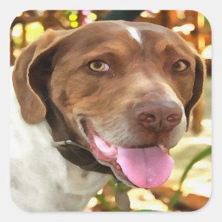 Arturo el perro de caza pegatina cuadrada