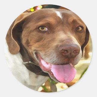 Arturo el perro de caza pegatina redonda