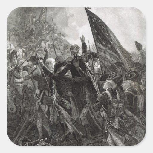 Asalto del punto pedregoso, julio de 1779 pegatina cuadradas personalizadas