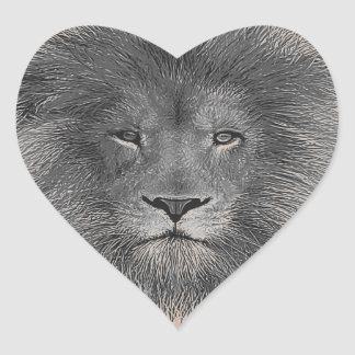 Ascendente cercano del león pegatina en forma de corazón