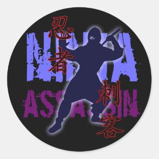 Asesino de Ninja Pegatina Redonda