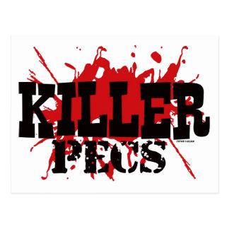 Asesino Pecs, humor, diseño negro blanco rojo del Postales