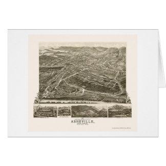 Asheville, mapa panorámico del NC - 1891 Tarjetón