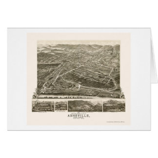 Asheville, mapa panorámico del NC - 1891 Tarjeta De Felicitación
