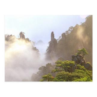 Asia, China, Huanshan. La montaña amarilla adentro Postal