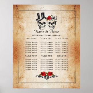 Asiento del poster del boda del plan de la tabla póster