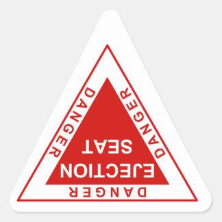 Asiento eyectable el peligro pegatina triangular