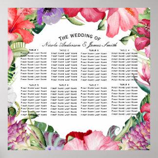 Asiento floral del boda del hibisco de la póster