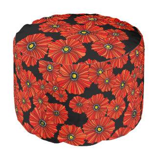 Asiento rojo retro del taburete de las amapolas puf