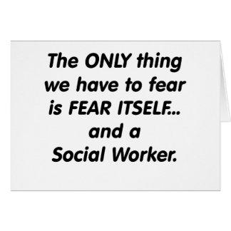 Asistente social del miedo tarjeta de felicitación