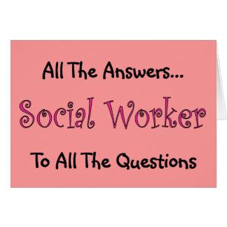 """Asistente social """"todas las respuestas """" tarjeta de felicitación"""