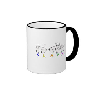 ASL AUXILIAR FINGERSPELLED TAZA A DOS COLORES
