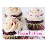 Asperje el feliz cumpleaños de las magdalenas postales