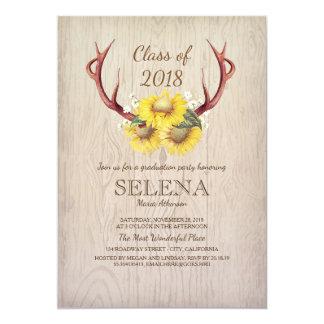 Astas de los ciervos y fiesta de graduación invitación 12,7 x 17,8 cm