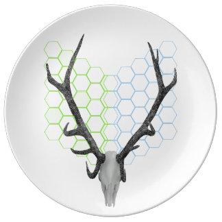 Astas del trofeo de los ciervos del macho plato de porcelana