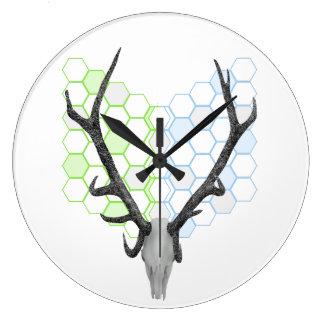 Astas del trofeo de los ciervos del macho reloj redondo grande