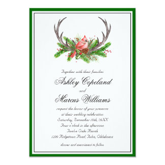 Astas rústicas y boda cardinal invitación 12,7 x 17,8 cm