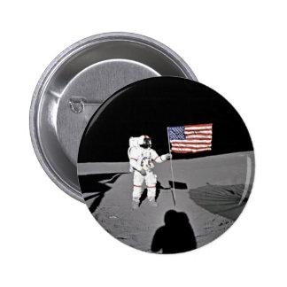 Astronauta Alan Shepard, bandera americana en la l Chapa Redonda De 5 Cm