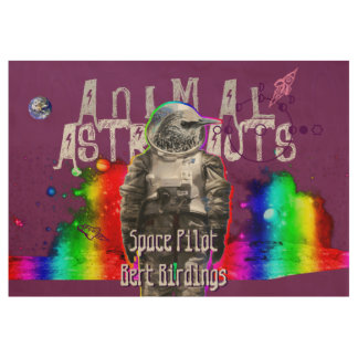 Astronauta animal del pájaro de Bert Birdings Póster De Madera