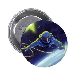 Astronauta de la ciencia ficción del vintage en un chapa redonda 5 cm