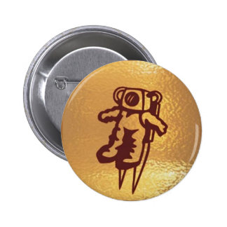 Astronauta de oro del robot pin