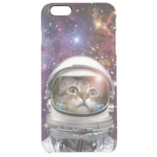 Astronauta del gato - gato loco - gato funda transparente para iPhone 6 plus