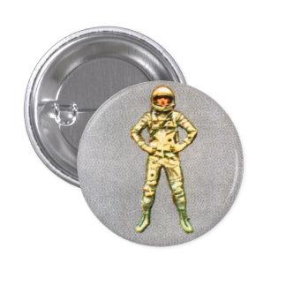 Astronauta retro del espacio del kitsch 60s del vi chapa redonda 2,5 cm