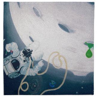 Astronauta y luna servilleta de tela