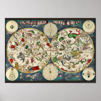 Astronomía celestial del vintage del mapa de la póster