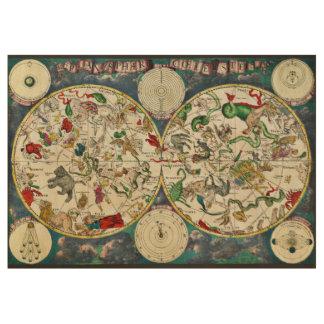 Astronomía celestial del vintage del mapa de la póster de madera
