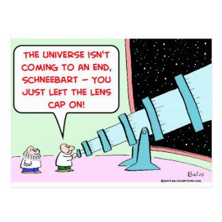 astrónomo del telescopio del casquillo de lente de postal