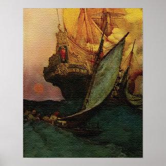 Ataque contra un poster de la nave de Galleon