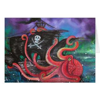 Ataque del barco pirata tarjeta de felicitación