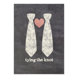 Atar el boda gay de la pizarra de la saber invitación 12,7 x 17,8 cm