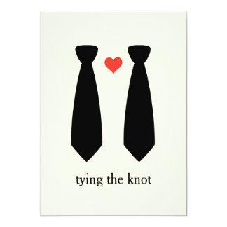 Atar el boda gay del nudo invitación 12,7 x 17,8 cm