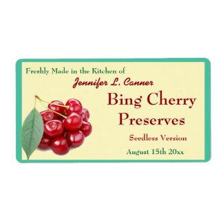 Atasco o cotos de cereza de Bing que conservan el Etiquetas De Envío