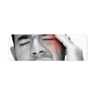 Atención sanitaria dolorosa del hombre del dolor etiqueta de remitente