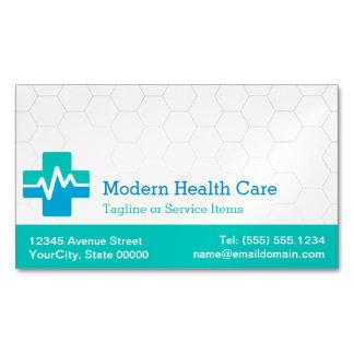 Atención sanitaria médica moderna - azulverde tarjeta de visita magnética