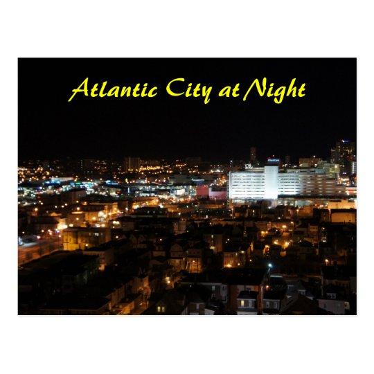 Atlantic City en la noche Postal