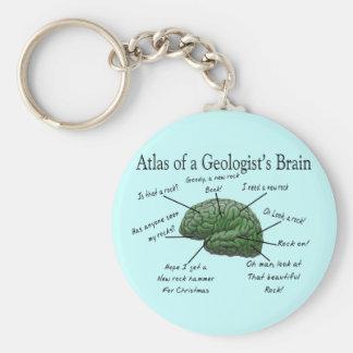 Atlas de los regalos divertidos del cerebro de un  llavero redondo tipo chapa