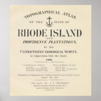 Atlas de Rhode Island de la página de título Póster